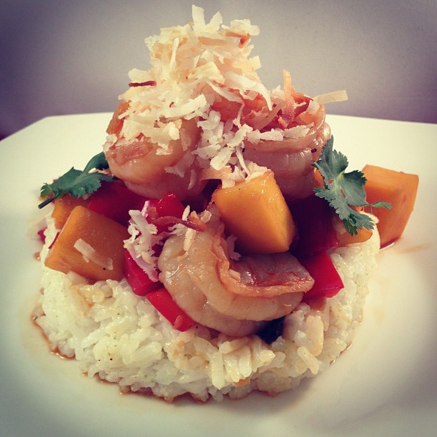 Spicy Mango Shrimp With Coconut Lime Rice | thetastee